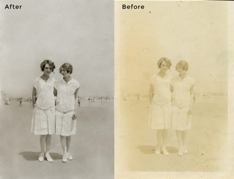 Girls on Beach Photo Restoration