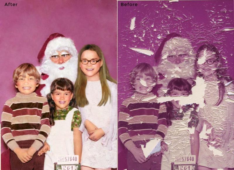 Kids with Santa Photo Restoration