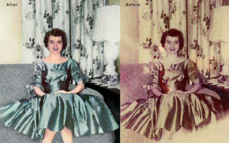 Woman on Sofa Photo Restoration
