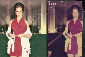 Woman Standing Photo Restoration