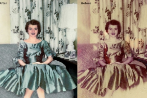 Woman on Sofa Photo Restoration