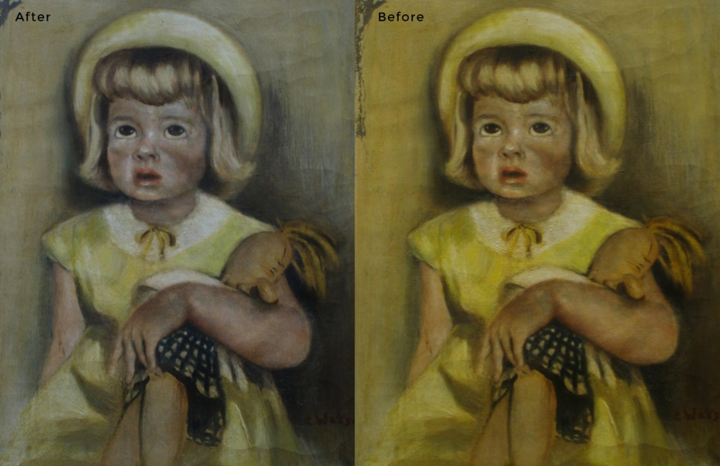 Girl with Doll Painting Restoration